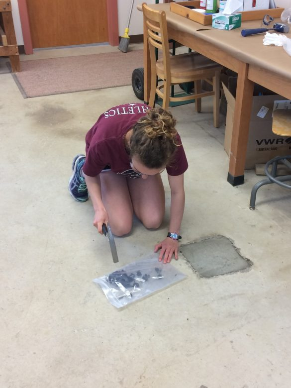 Cara Lembo ('17, Amherst College) is hammering her rocks into smaller pieces, preparing them for the shatterbox.