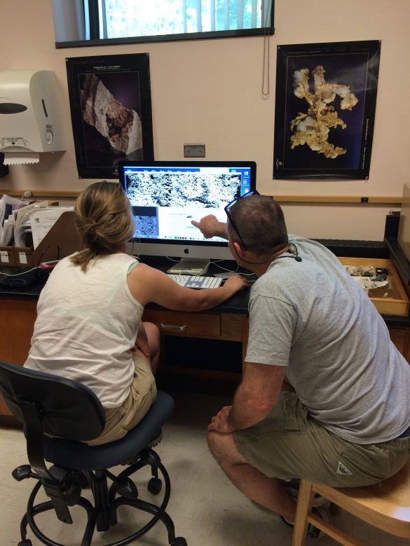 Anna and Ben Edwards (Dickinson College) are identifying vesicle patterns in pillow lavas.
