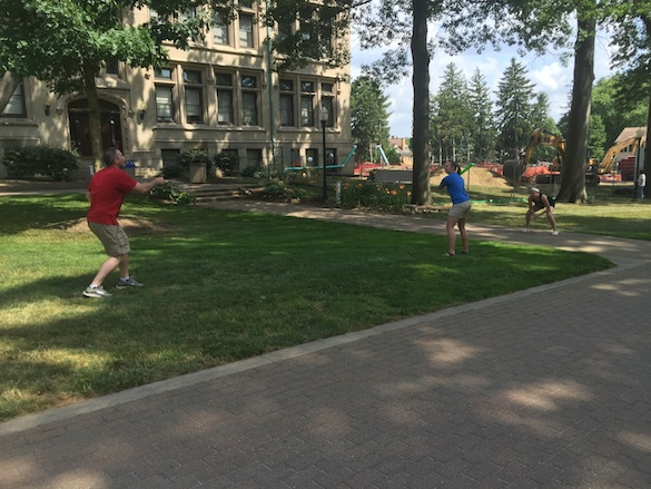 It's not all work, of course. We occasionally take breaks to play wiffle ball and frisbee on the quad.
