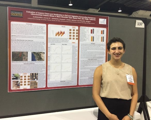 Amineh AlBashaireh ('18) has been conducting research on the occurrence and mobilization of arsenic.