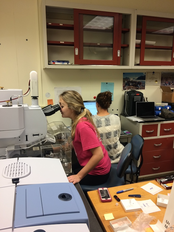 Chloe (left) is looking for an ideal measurement location on her glass chip. Cara (right) is operating the data collection and reduction software.